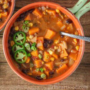 Bowl of black bean sweet potato soup.