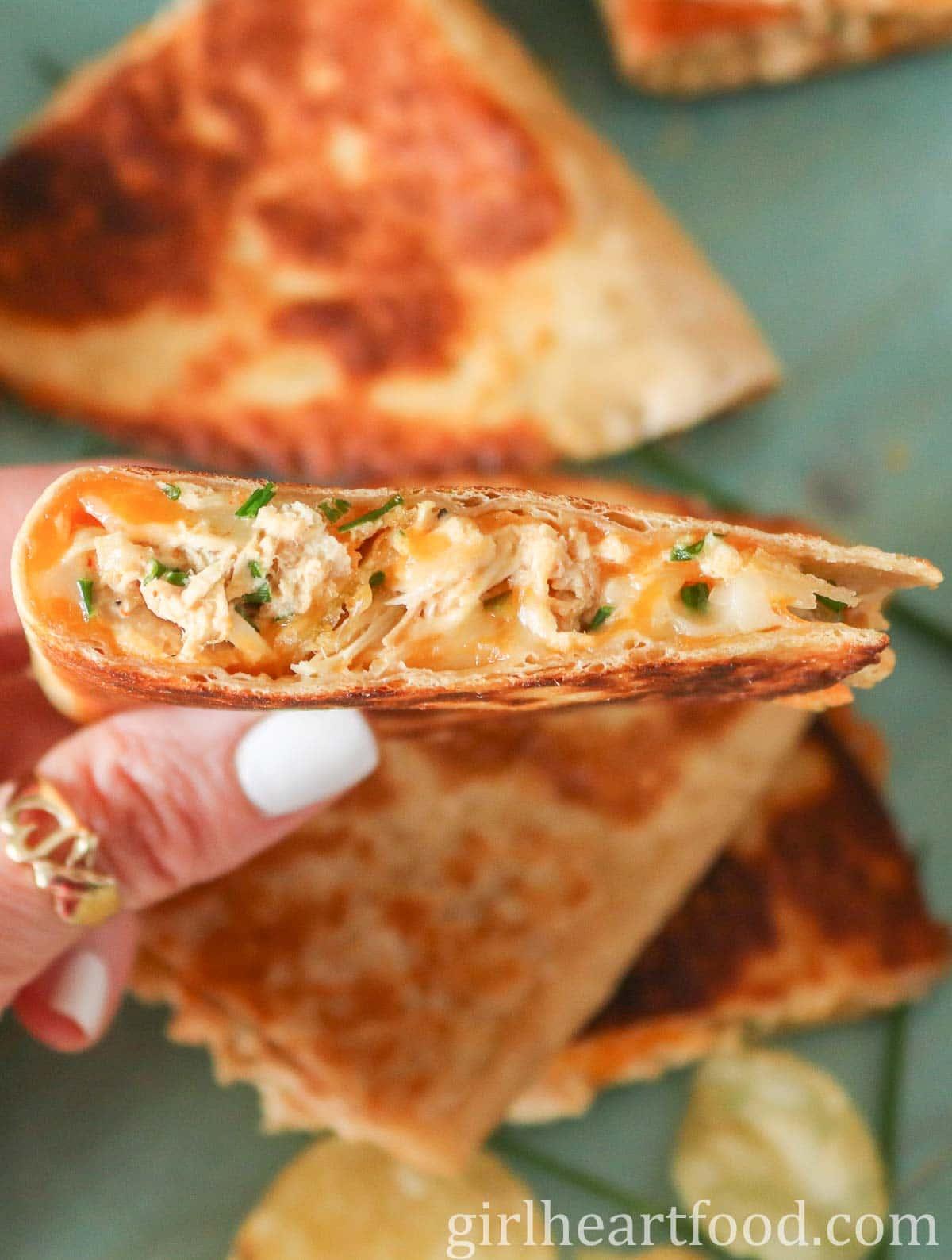 Hand holding a cheesy tuna quesadilla.