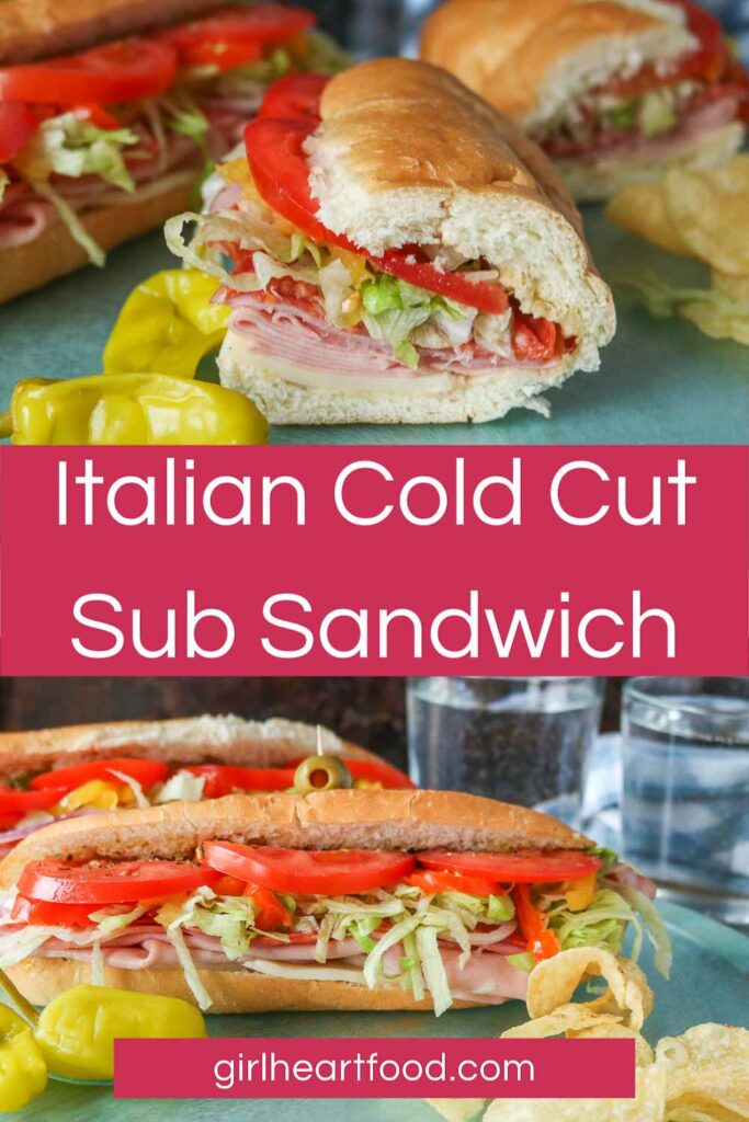 Collage of an Italian cold cut sub sandwich: one of half a sub and the other of the full sub.