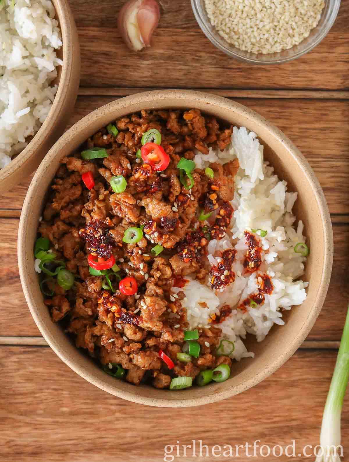 Ground turkey rice bowl with chili oil.