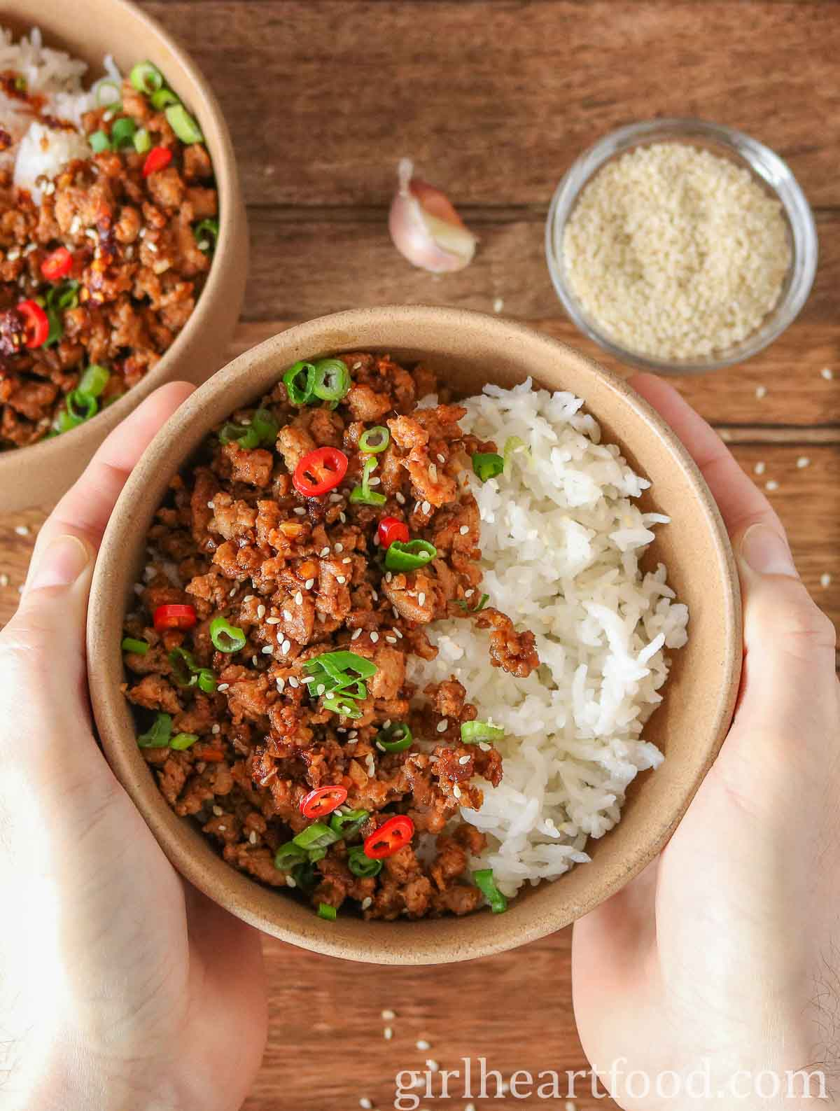 Two hands holding a ground turkey rice bowl.