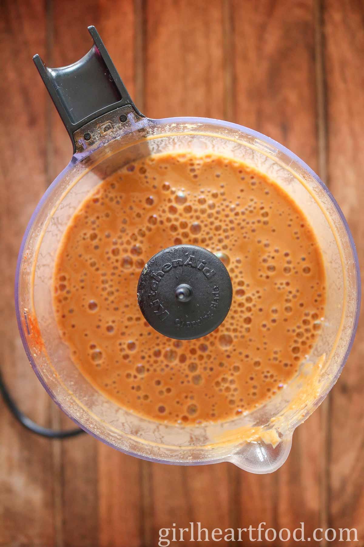 Peanut sauce in a food processor.