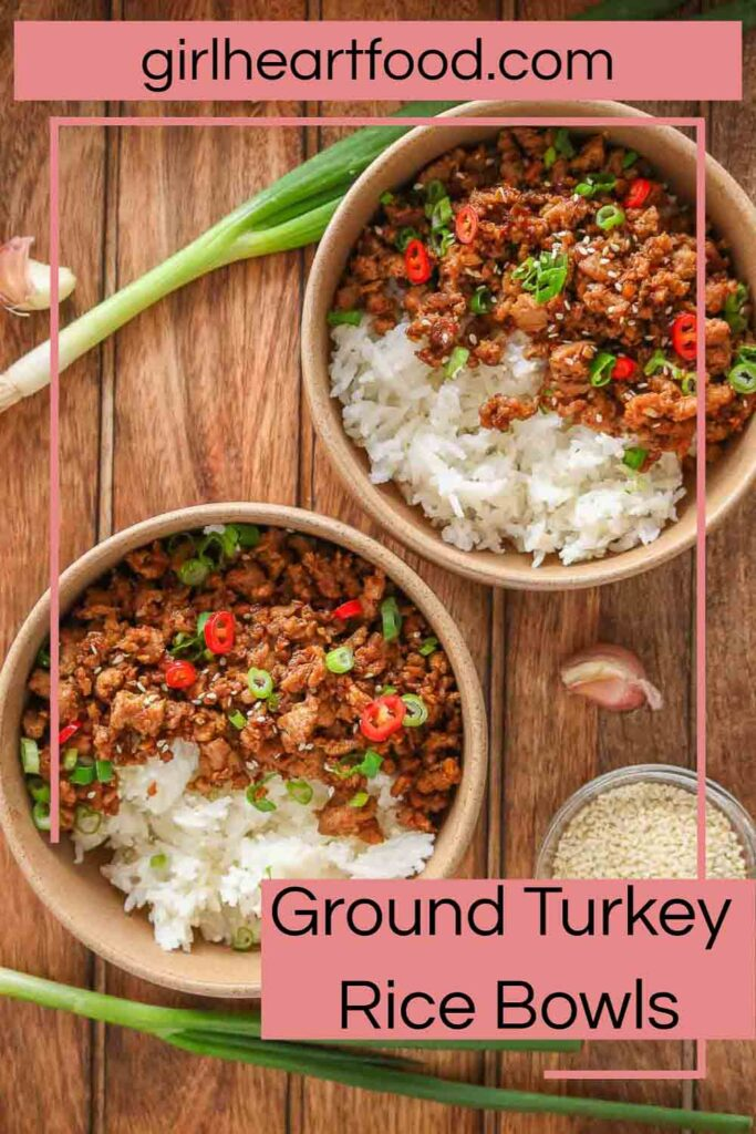 Two ground turkey and rice bowls.