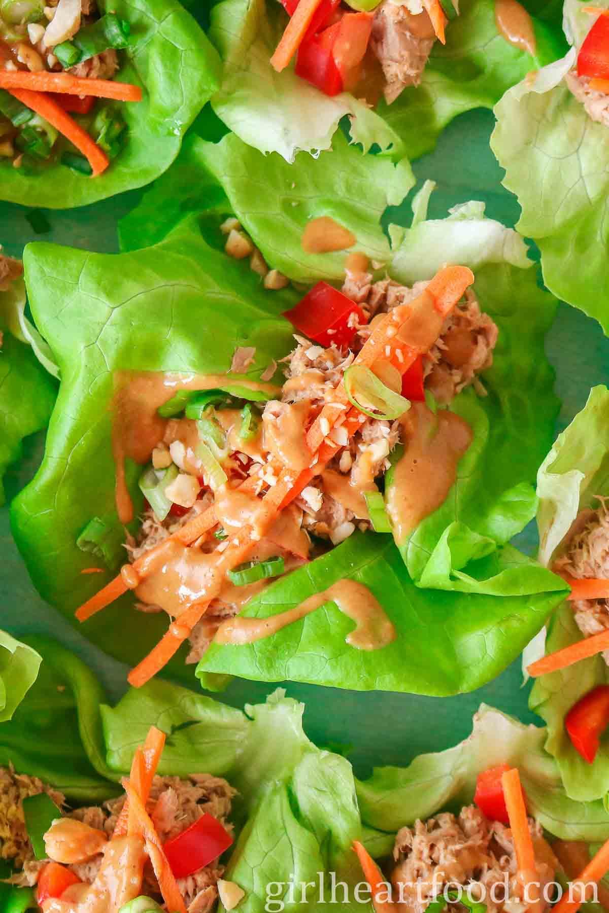 Tuna lettuce wraps with peanut sauce.