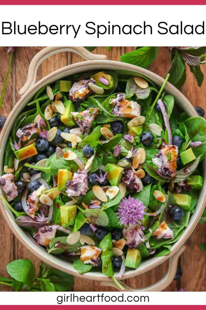 Dish of blueberry spinach salad drizzled with vinaigrette & next to chives, mint and blueberries.