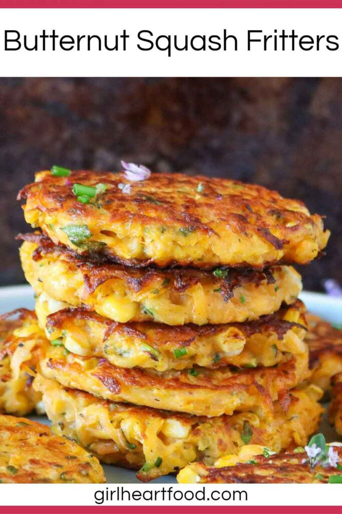 Close-up of a stack of five butternut squash fritters surrounded by more fritters.