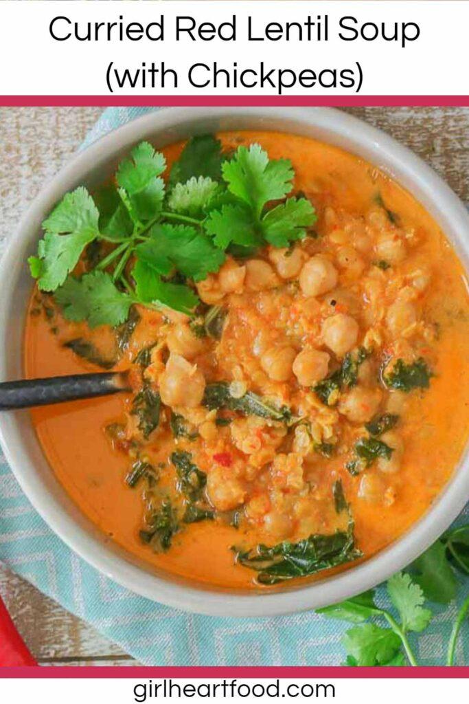 Bowl of red lentil chickpea soup.