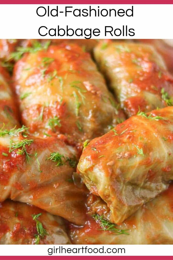 Old-fashioned cabbage rolls with tomato sauce and garnished with fresh dill.