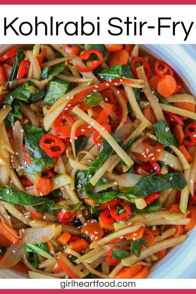 Dish of kohlrabi stir-fry.