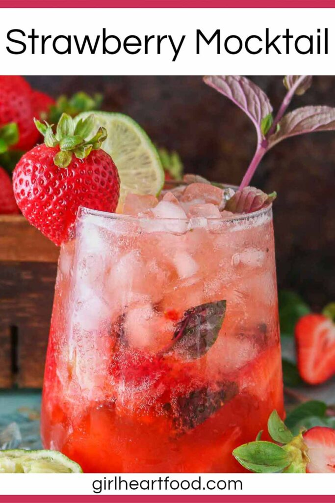 Glass of strawberry mocktail.