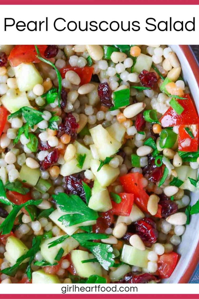 Close-up of a dish of pearl couscous salad.