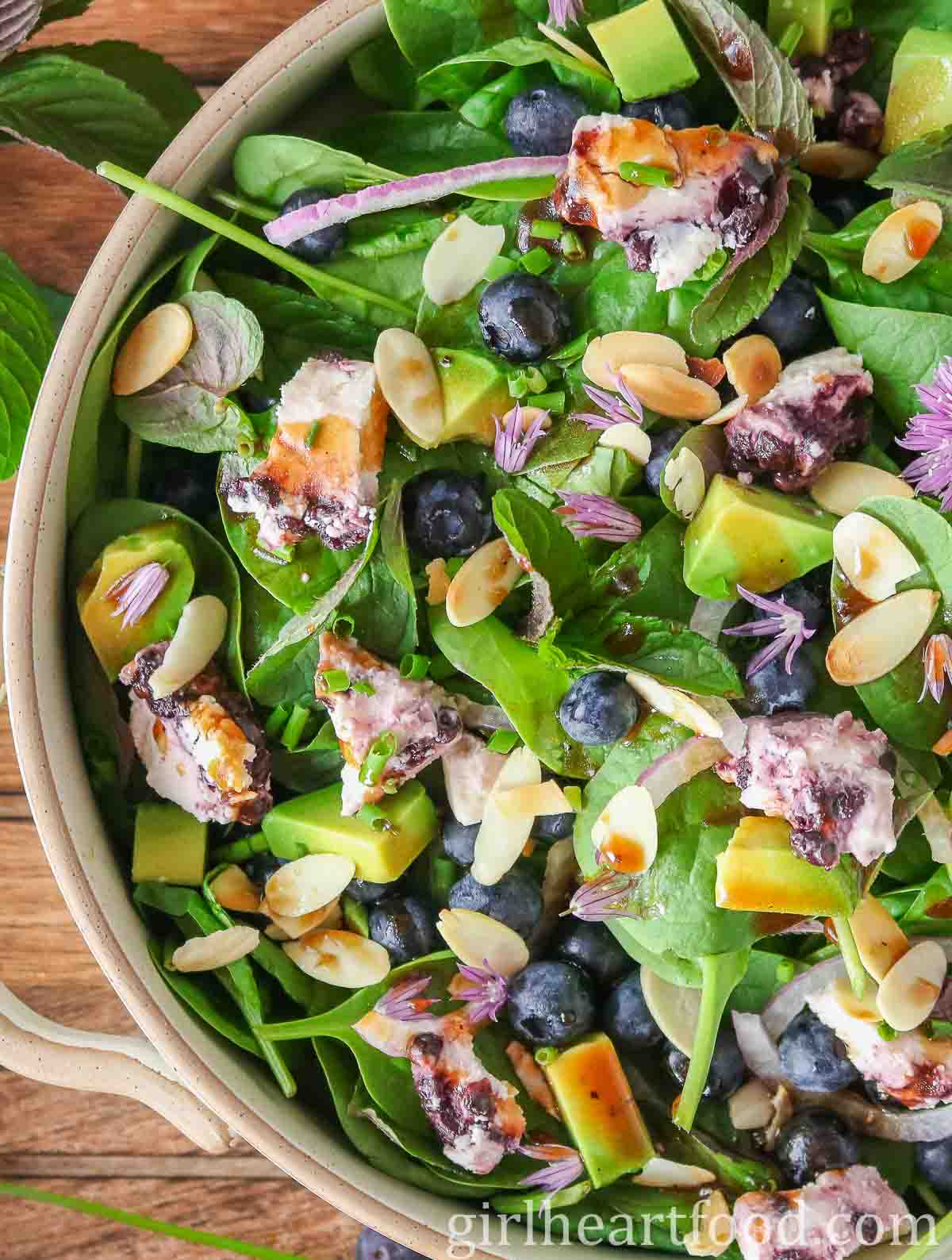 Close-up of a dish of blueberry and spinach salad drizzled maple vinaigrette.