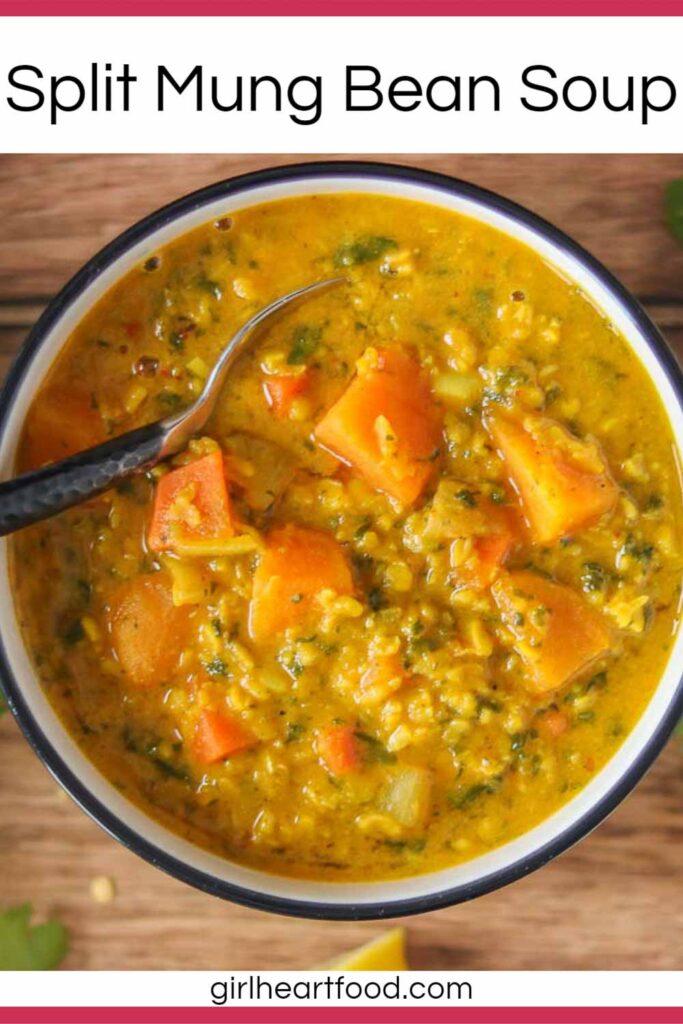 Bowl of split mung bean soup.