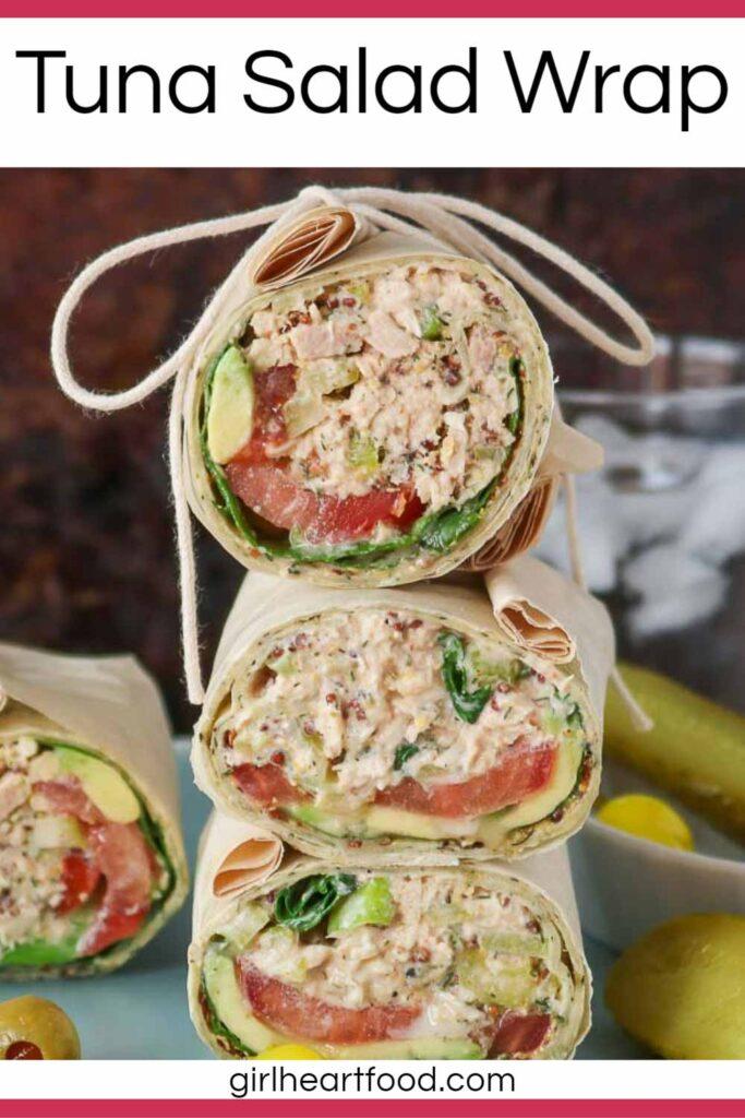 Stack of three tuna salad wraps.