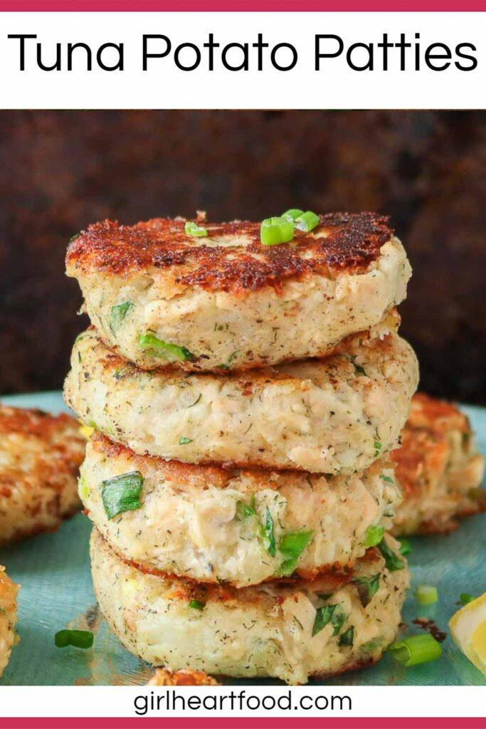 Stack of four tuna potato patties surrounded by more tuna patties.