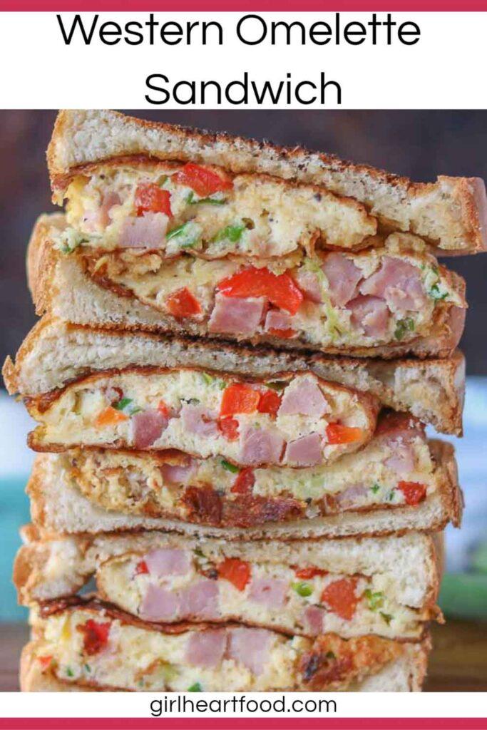 Stack of three western sandwich halves.