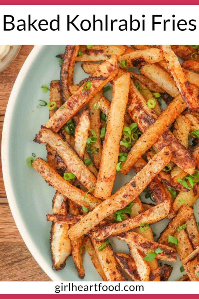 Close-up of a plate of kohlrabi fries with green onion.