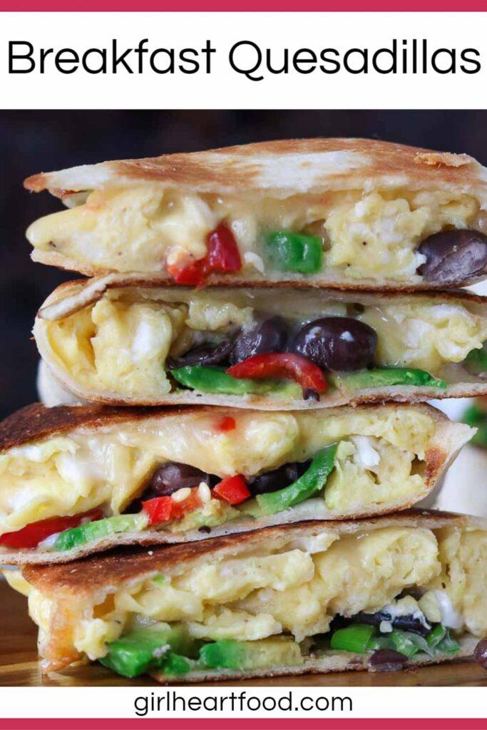 Stack of four scrambled egg breakfast quesadillas.