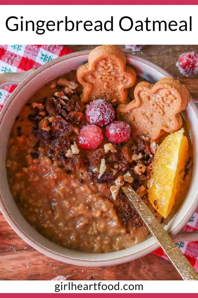 Bowl of gingerbread steel-cut oats garnished with festive toppings.
