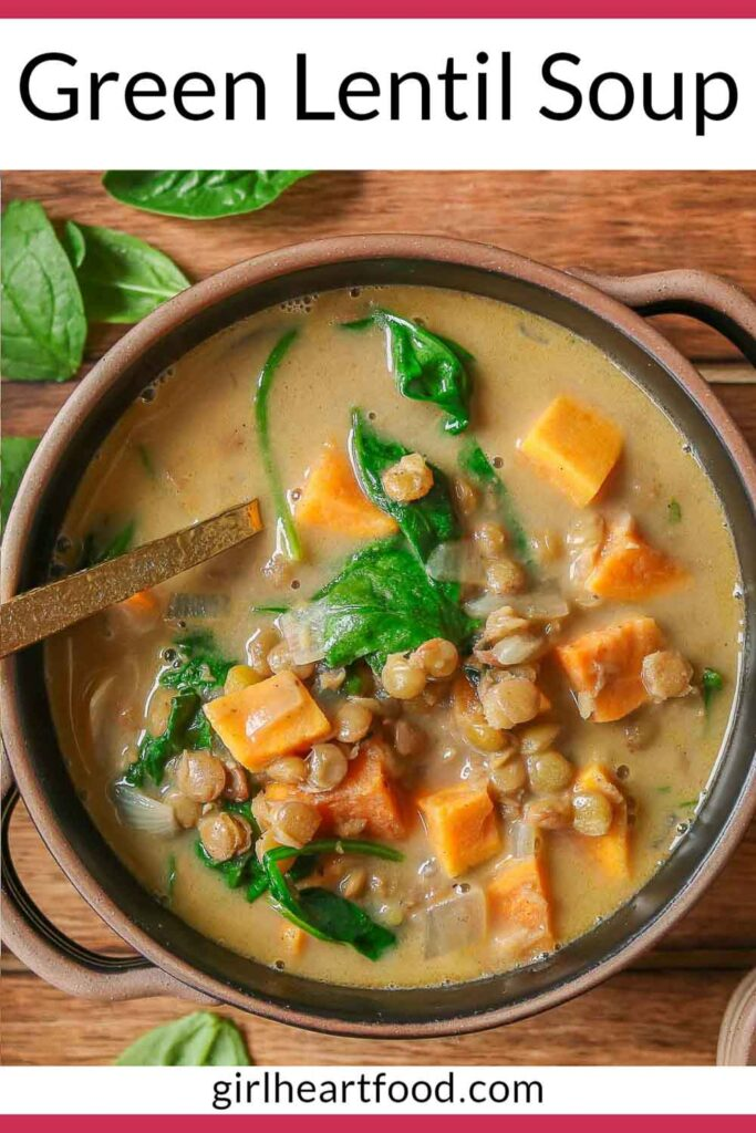 Bowl of green lentil, spinach and sweet potato soup.