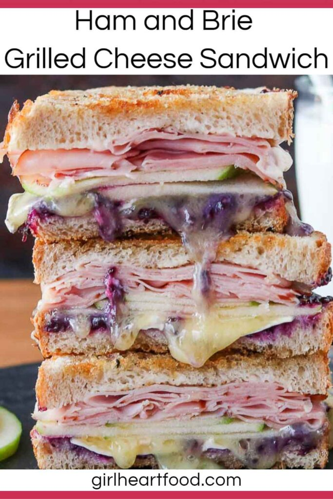 Stack of three grilled ham and Brie sandwich halves.