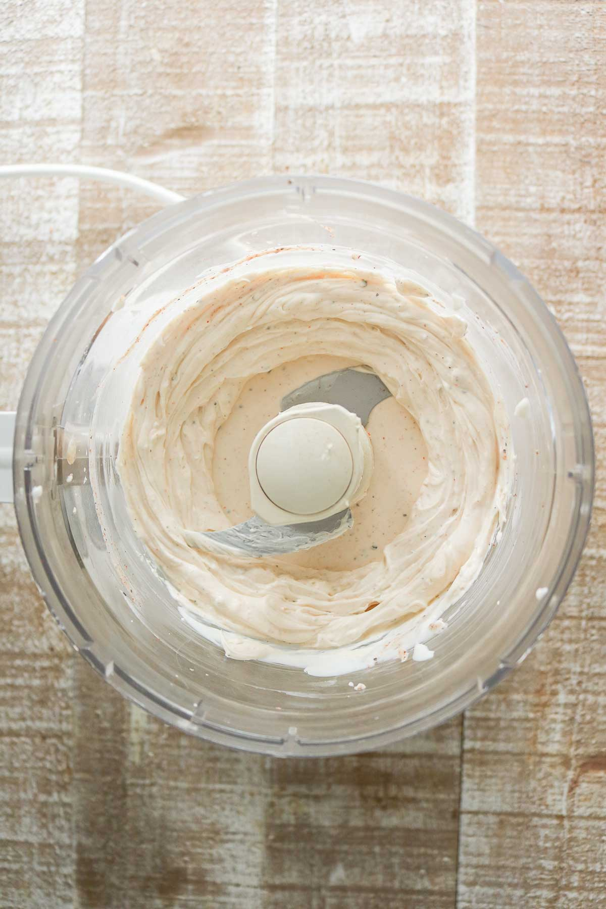 Cream cheese mixture blended up in a food processor.