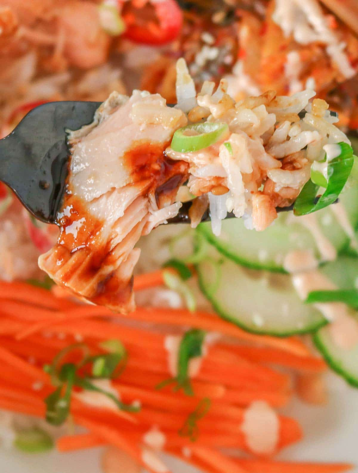 Forkful of glazed salmon, rice and green onion.