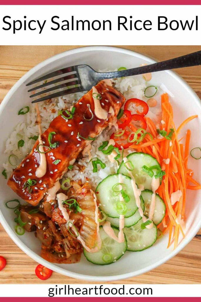 Salmon rice bowl with a black fork resting in the bowl.