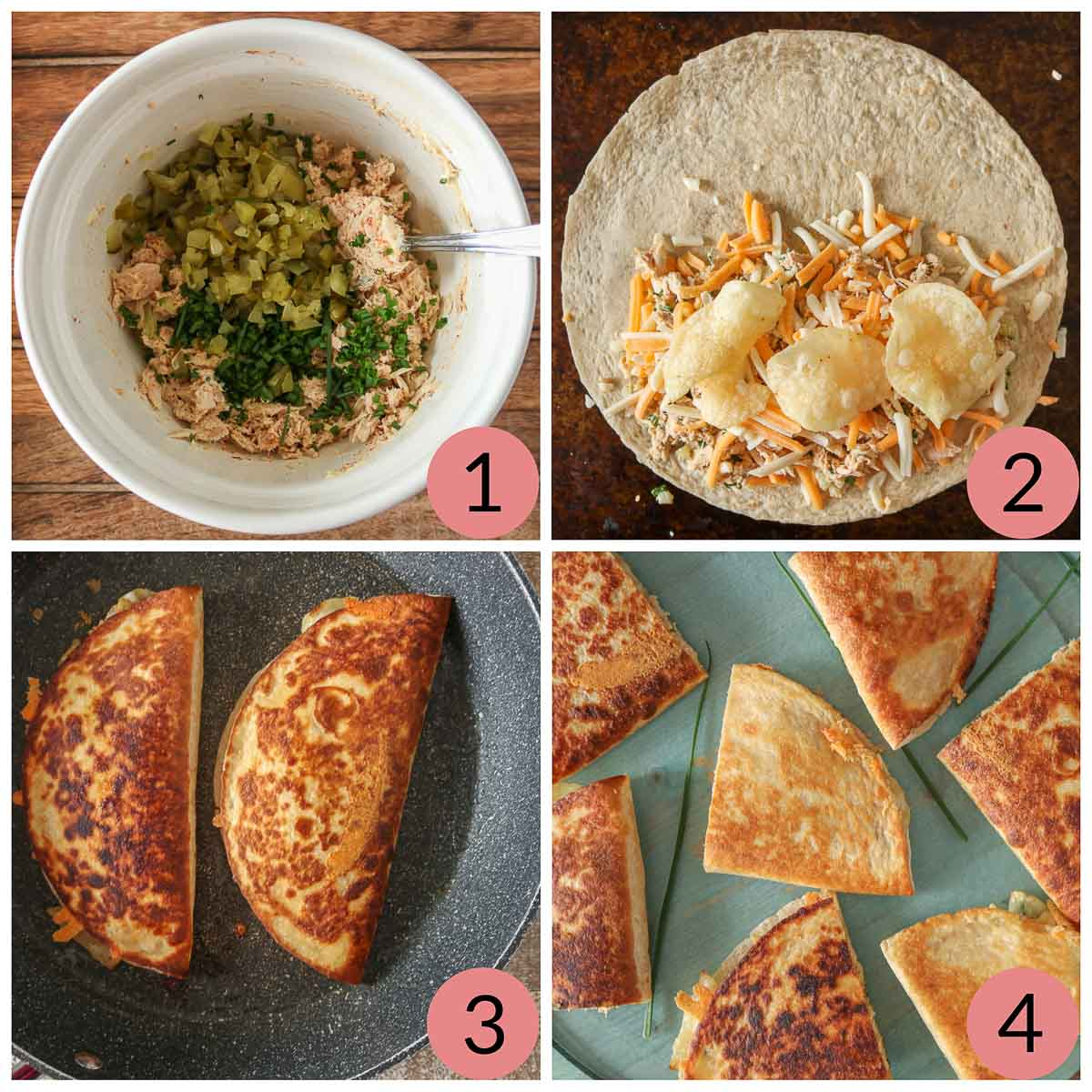 Collage of steps to make tuna quesadillas.
