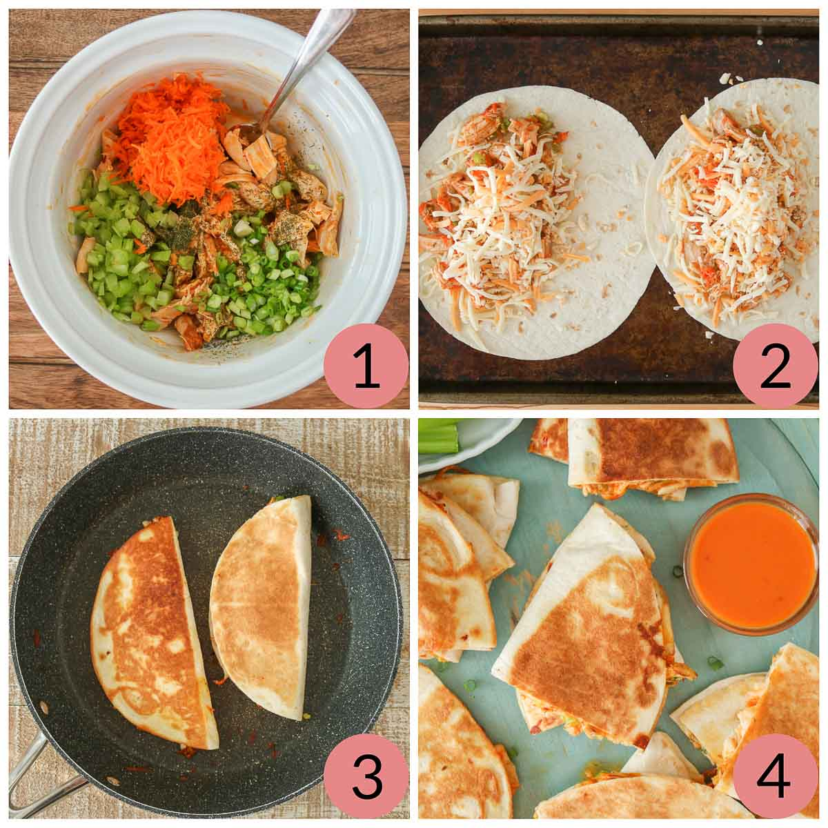 Collage of steps to make buffalo chicken quesadillas.
