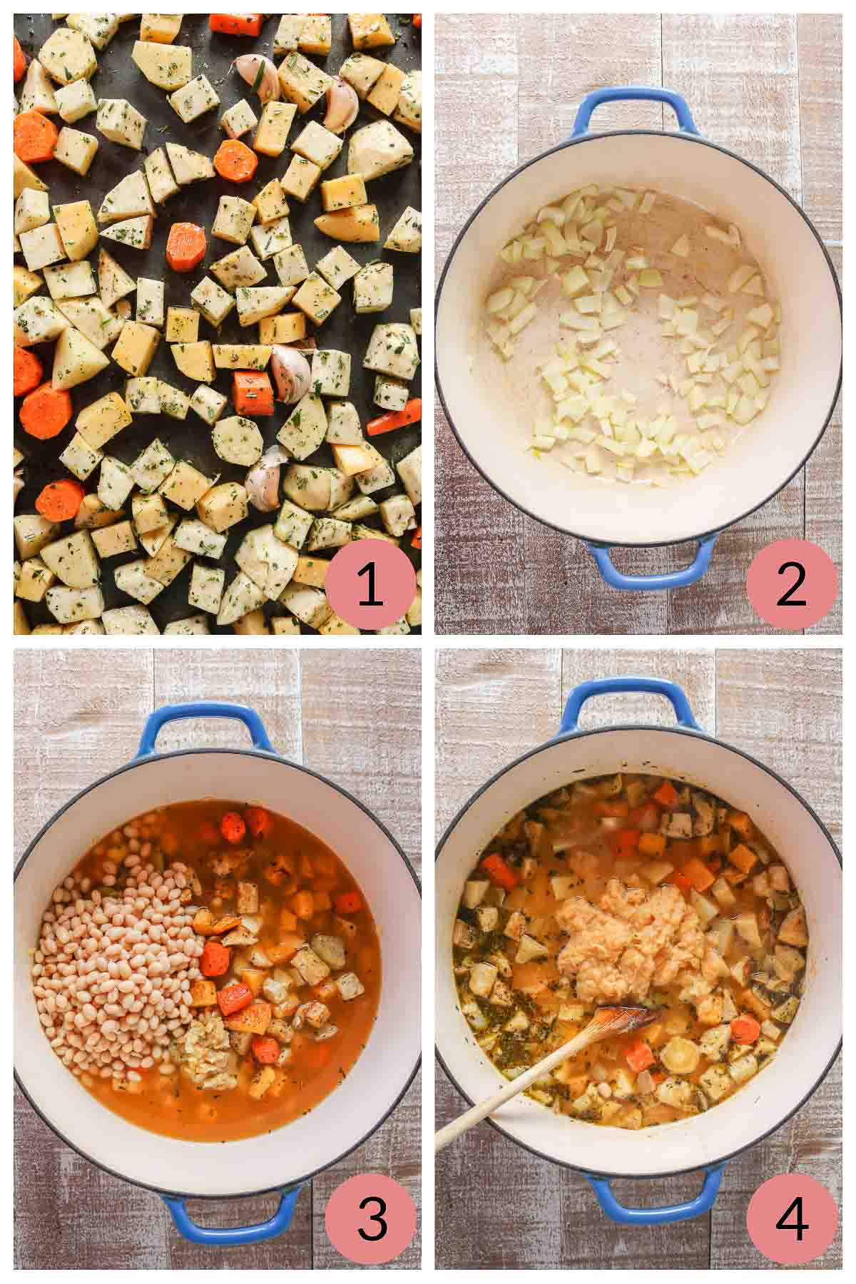Collage of steps to make root vegetable soup with beans.