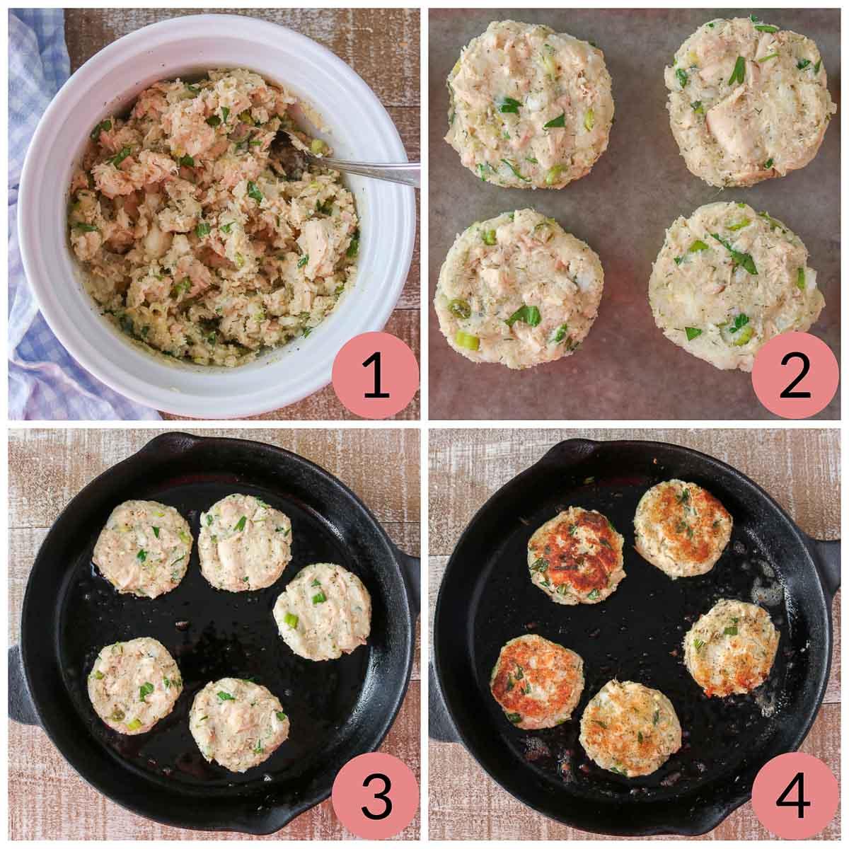 Collage of steps to make tuna potato patties.